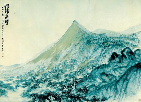 《韶峰春晓》 镜心 纸本设色 146x201.5cm 1961年2月