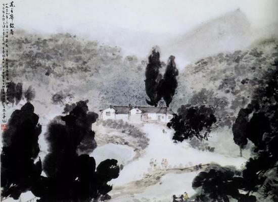 《毛主席故居》 轴 纸本设色 45.7×62.6cm 1959年6月