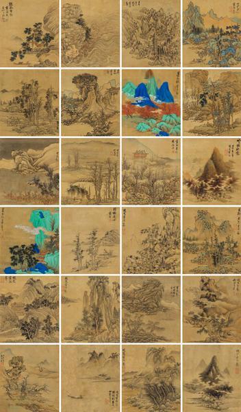 拍品编号 564 /蓝瑛(1585-1664 年后)/《山水双册》册页 2 本 共 24 幅(此处选登 4 幅)/水墨绢本、设色绢本/壬午(1642 年)作/29.3 × 25.4 cm/估价:HK$ 15,000,000 –18,000,000