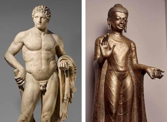 左:青年赫拉克勒斯的大理石雕像,右:提供庇护的佛