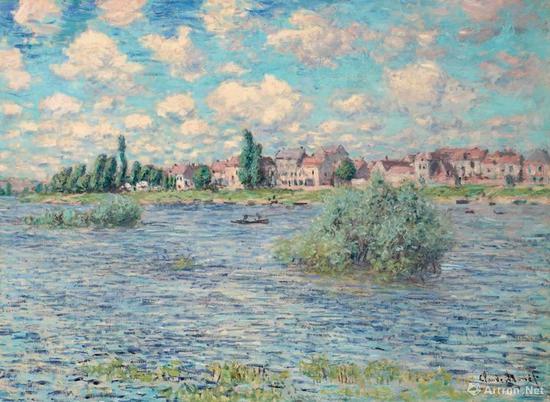 克劳德·莫奈《拉瓦古的塞纳河风景》油彩 画布 60.2x 81.5 cm。 1879年作