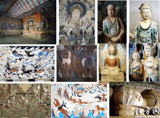 """敦煌壁画彩塑精美绝伦,是中华艺术的一座""""宝库"""""""