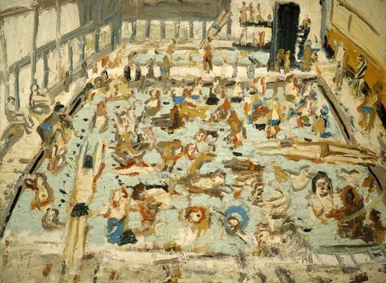 莱昂・科索夫《儿童游泳池,1969年8月,星期六早晨11点》