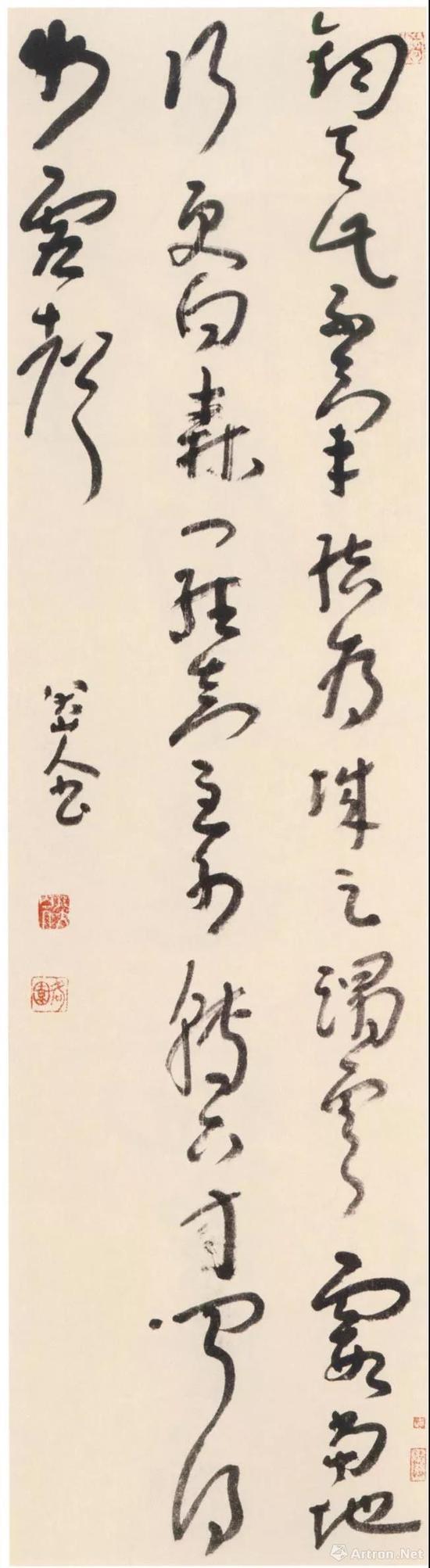 朱耷《草书七绝诗轴》纸本草书 151.5×41cm 北京市文物商店藏