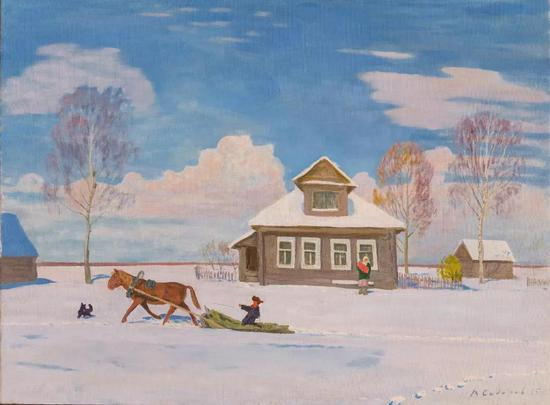 西多罗夫《第一场雪》布面油画 102×137cm 2015年