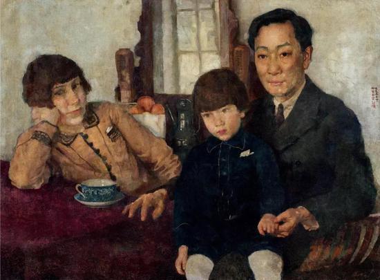 徐悲鸿 杨仲子全家福 布面油彩 59.5x79.5cm 1928年