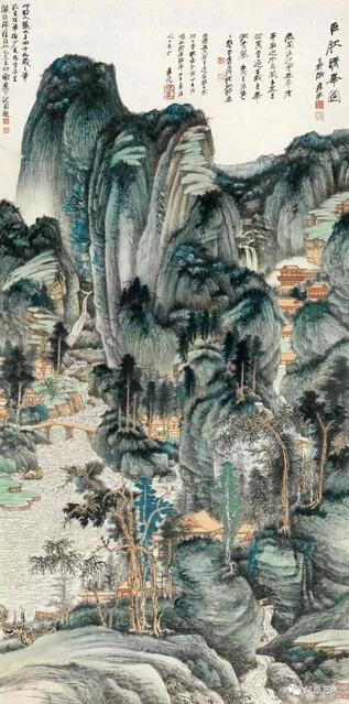 张大千,《仿巨然晴峰图》,2016年中国嘉德国际拍卖有限公司拍出1.035亿