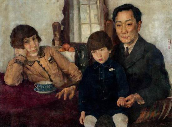 徐悲鸿,《杨仲子全家福》,布面油彩,59.5×79.5厘米,1928年,龙美术馆