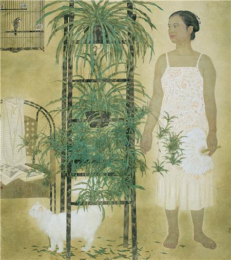 《有猫的人家》180×180cm 纸本设色 1998年