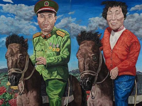 刘炜《革命家庭系列:云游时光》(双联作)   估价:15,000,000 - 20,000,000 港元   成交价:35,587,500 港元