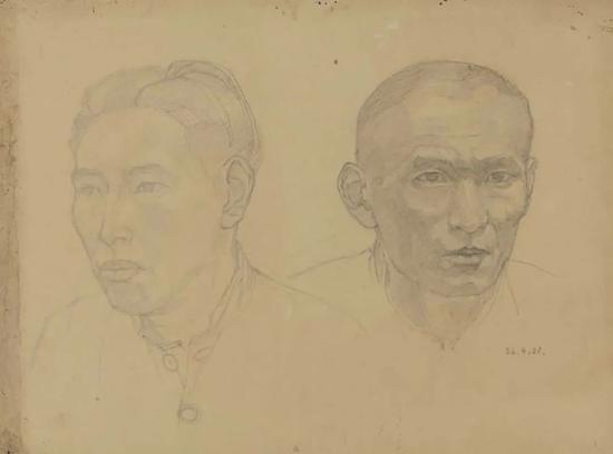 刘开渠 两个头像 1936年