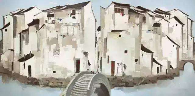 ▲吴冠中 ·《周庄》 油彩画布