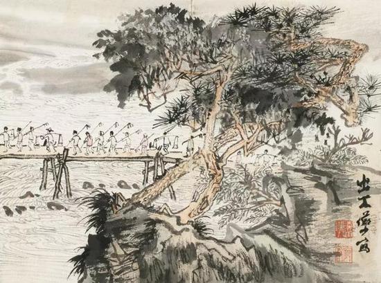 第二、三、四开均描绘农民手持耕具,清晨出工,辛勤劳动的场景;