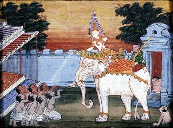 东南亚须大拏故事画中的施舍大象场景图