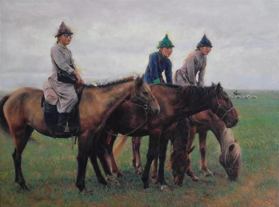 马背上的骑手 布面油画 45.8X61cm 2010年