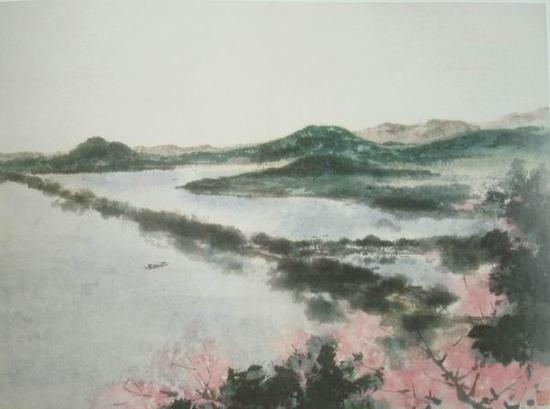 傅抱石,《苏堤春晓》,34.5x45.5cm,1963年