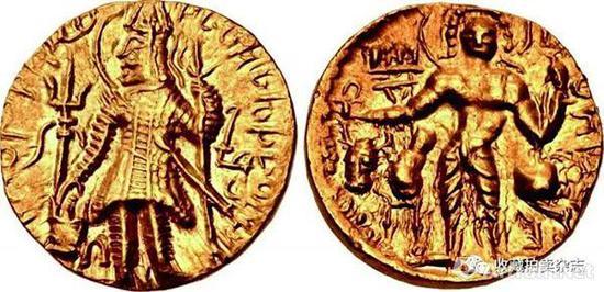 | 迦腻色伽二世 1第纳尔金币 公元230-247国王手持三叉戟供奉祭坛(正)手持三叉戟以及束头带的湿婆站像 后面是神牛南迪(反)