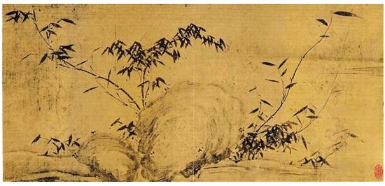 (宋)苏轼 潇湘竹石图(局部) 绢本水墨 28×105.6cm 现藏于中国美术馆