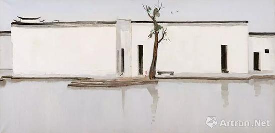 吴冠中 油画《双燕》 69x140cm 1994年作