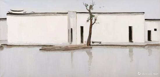 吴冠中《双燕》 布面油画 69x140cm 1994年作