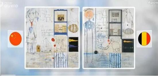 比利时媒体曝光的叶永青与比利时画家克里斯蒂安·西尔万作品对比图网络截图