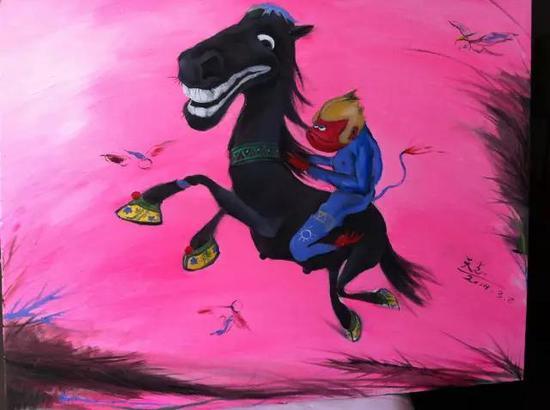 猴与马   油画  2014年3月