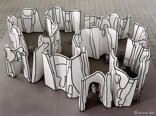 让·杜布菲 《城市中的街道与楼房》 树脂 聚氨酯 50 x 210 x 142 cm 1969