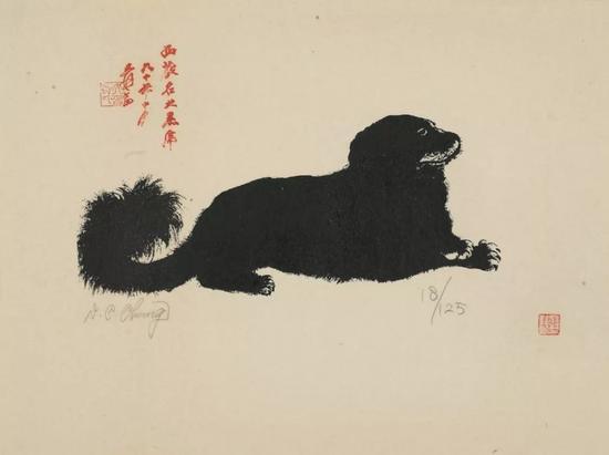 张大千,小黑虎,丝网版画,50cm×61cm款识:西藏名犬黑虎六十年十月爰画