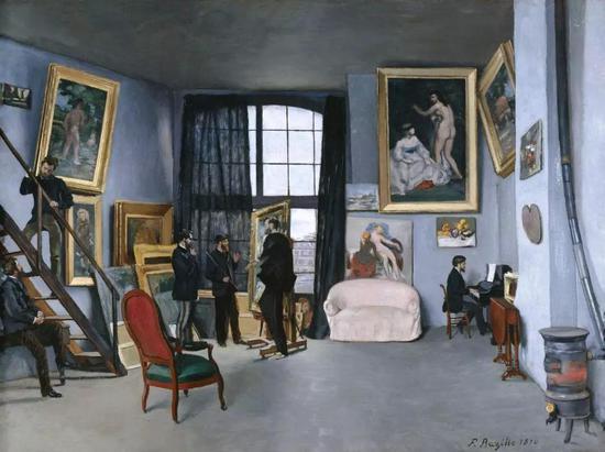 巴齐耶《孔达米内街的画室》,布面油画,1870年