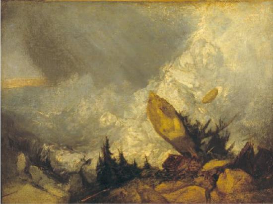 即将在上海博物馆展出的作品《格里松山的雪崩》,透纳,油画