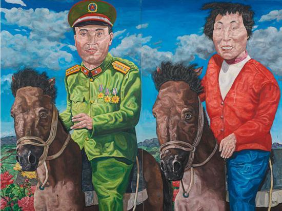 刘炜《革命家庭系列:云游时光(双联作)》油画画布