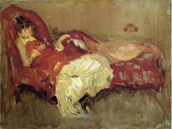 詹姆斯·惠斯勒,《红色音符:午睡》,1873-1875