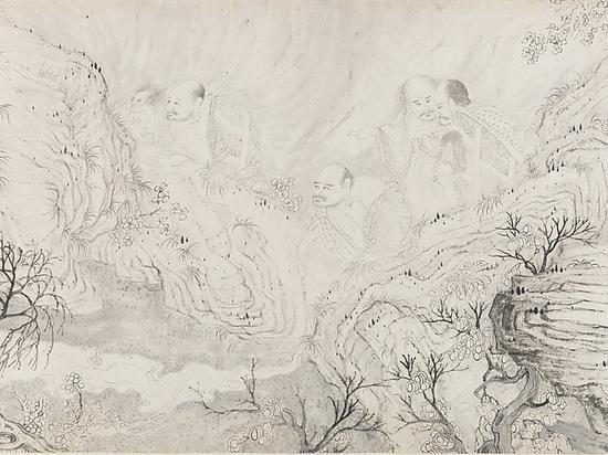 美国大都会博物馆所藏石涛《十六罗汉图》(《十六应真图》,局部)