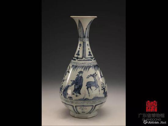 ▲元代的景德镇窑青花人物纹玉壶春瓶