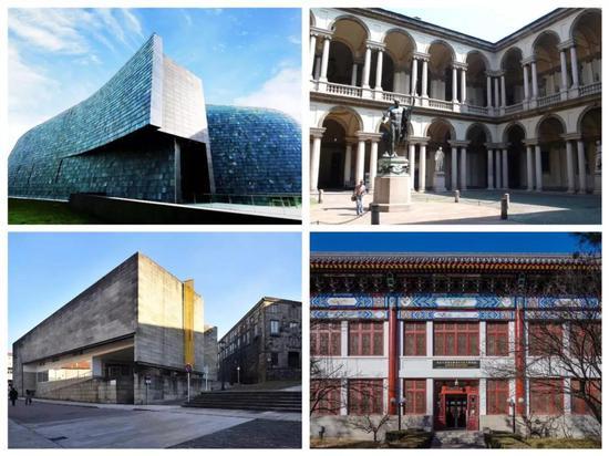 部分参加论坛的艺术博物馆外景(自左至右依次为中央美术学院美术馆、中国美术学院国际艺术设计博物馆、布雷拉美术馆、北京大学赛克勒考古与艺术博物馆)