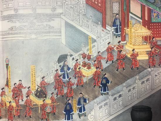 """《载湉大婚典礼全图册》中的""""皇后妆奁"""""""