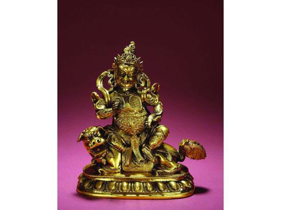 十九世纪铜鎏金财宝天王像