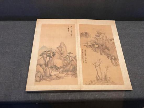 """董其昌《纪游画册》""""小赤壁""""(复制),台北故宫博物院藏"""