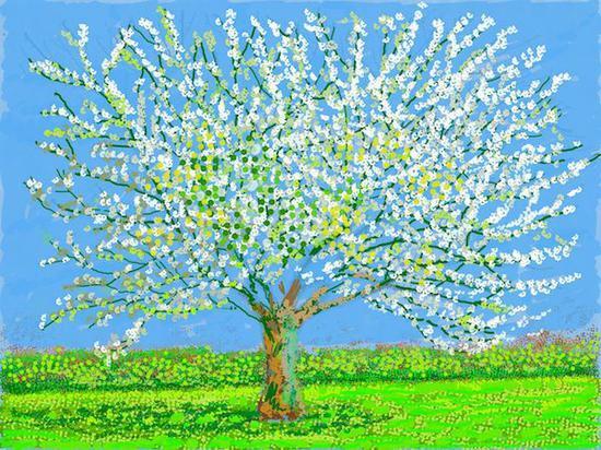 大卫·霍克尼《第180号,2020年4月11日》,iPad绘画