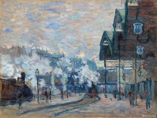克劳德·莫奈《圣拉扎尔车站外景》油彩 画布 60.4 x 80.2 cm 1877年作