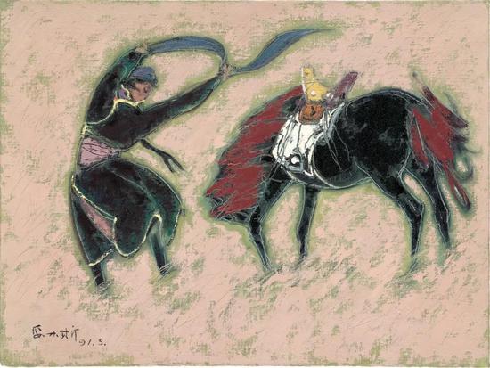 妥木斯《风之舞》布面油画 80×60cm 1991年