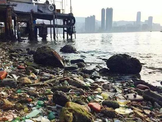 各种废弃垃圾在退潮后显露出来