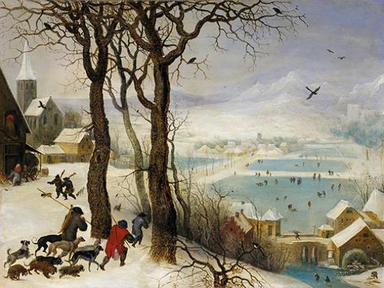 《雪中狩猎》,小彼得?勃鲁盖尔, (1564-1638)17世纪,木板油画