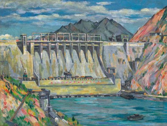 周碧初,《新安江水电站》,50×65cm,布面油画,1963年
