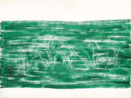 常玉 《草原上的马群》 1931年作