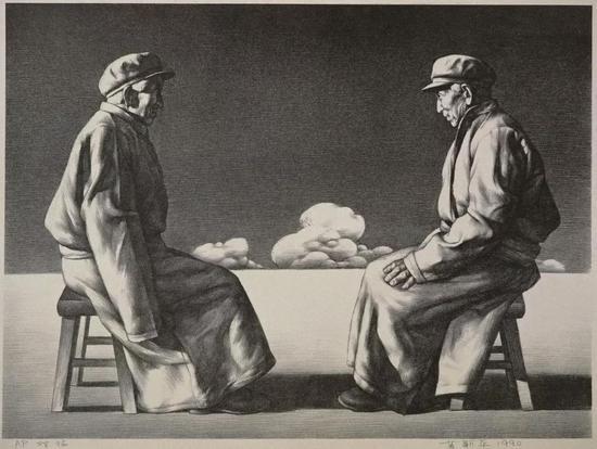 苏新平 《对话》 石版画 99cm×117cm 1990