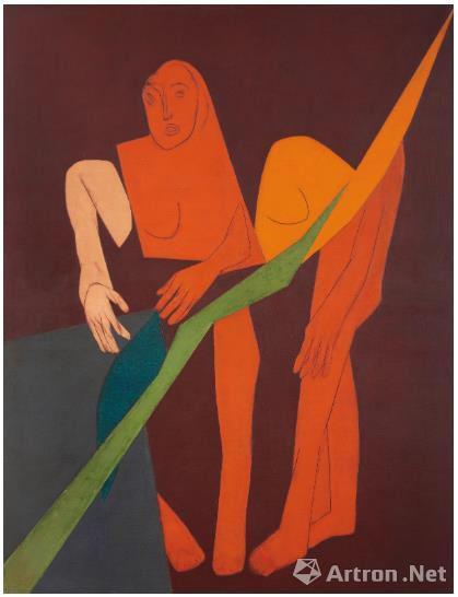 泰伯·梅塔(1925-2009) 《对角线XV》 油彩 画布 1975年作