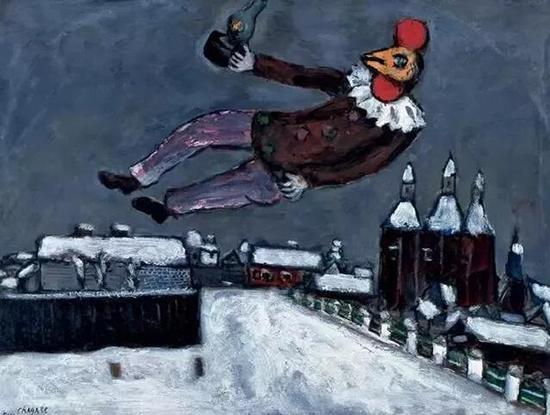 1925 Rooster Man Above Vitebsk