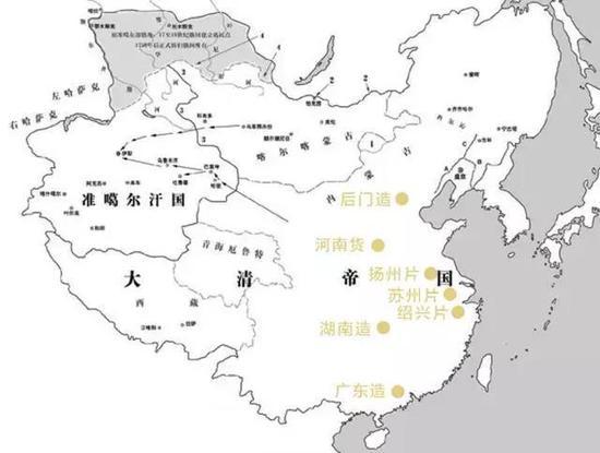 ▲明清书画造假地图