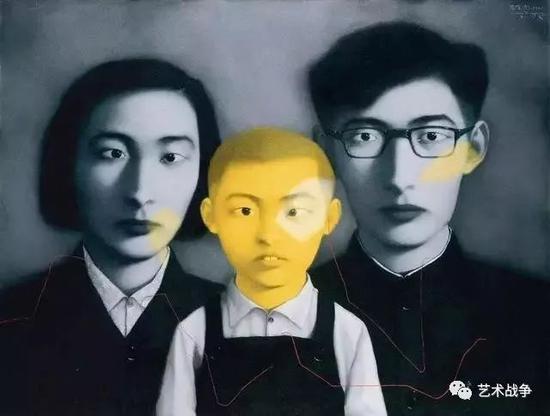 (王中军收藏:张晓刚《血缘——大家庭·全家福》)